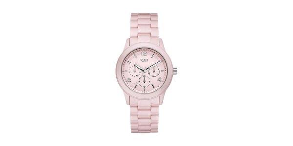 Dámske svetlo ružové analogové hodinky Guess