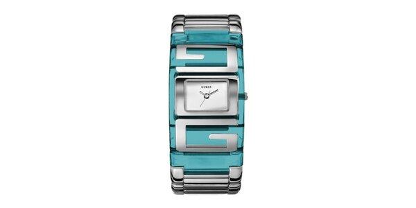 Dámske tyrkysové náramkové hodinky Guess