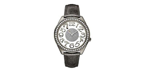 Dámske metalické hodinky s kryštálmi Guess