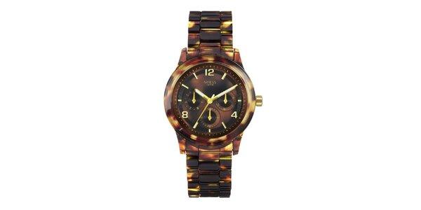 Dámske jantárovo žíhané hodinky so zlatými detailmi Guess
