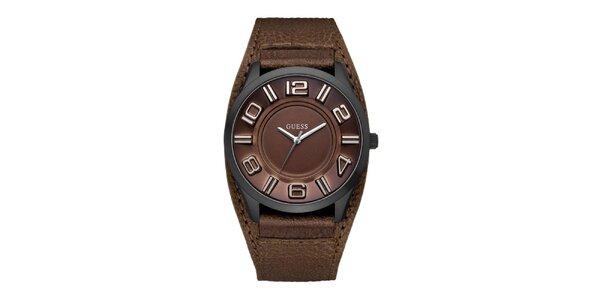 Dámske hnedé analogové hodinky Guess