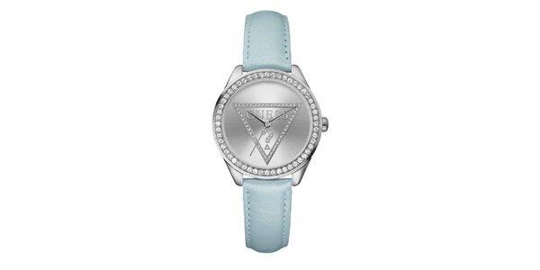 Dámske svetlo modré hodinky s kryštálikmi Guess