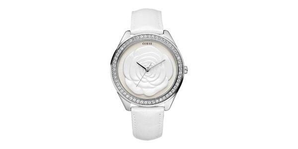 Dámske biele analogové hodinky s ružou Guess