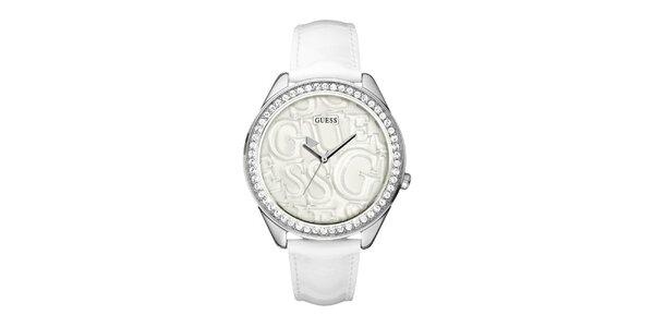 Dámske biele analogové hodinky s kryštálmi Guess