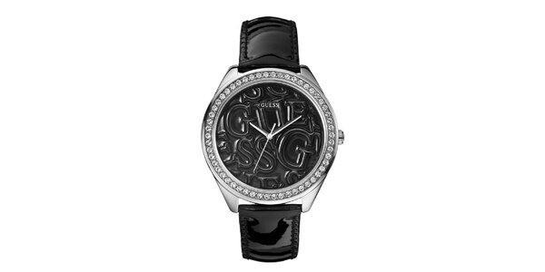 Dámske čierne analogové hodinky s kryštálmi Guess