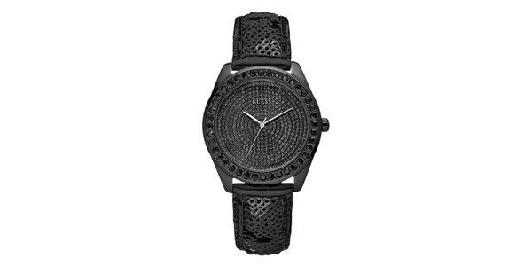 Dámske čierne hodinky s kryštálmi a flitrovým remienkom Guess