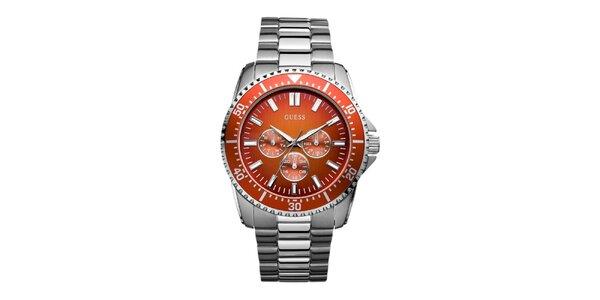 Pánske strieborné hodinky s oranžovým ciferníkom Guess