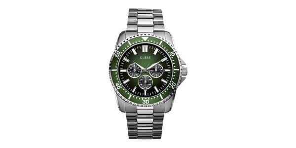 Pánske strieborné hodinky se zeleným ciferníkom Guess
