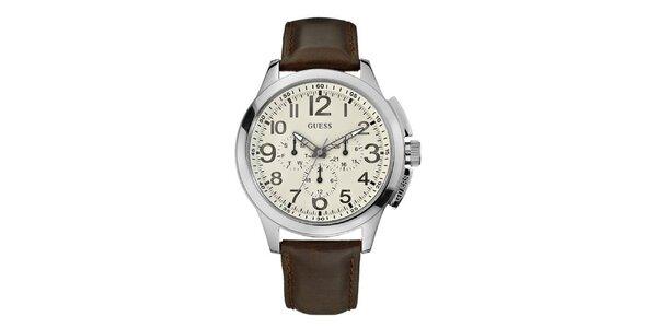Pánske hnedo-strieborné analogové hodiny Guess