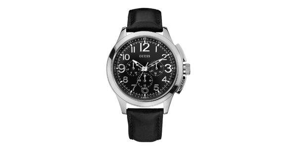 Pánske čierno-strieborné analogové hodiny Guess