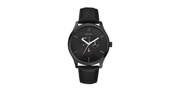 Pánske čierne analogové hodinky s červenými detailami Guess