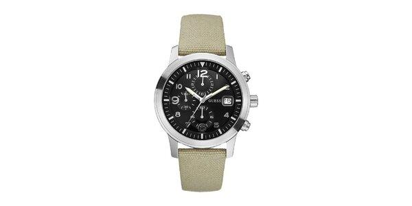 Pánske béžové analogové hodinky s černým ciferníkom Guess