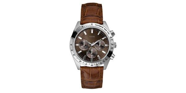 Pánske karamelové analogové hodinky Guess