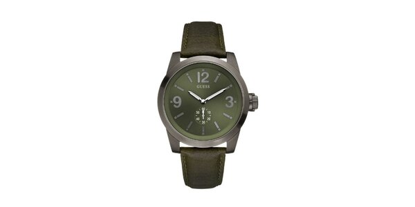Pánske zelené analogové hodinky s minerálnym sklom Guess