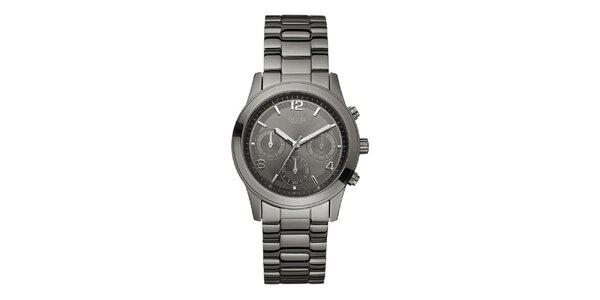 Pánske oceľovo šedé analogové hodinky Guess