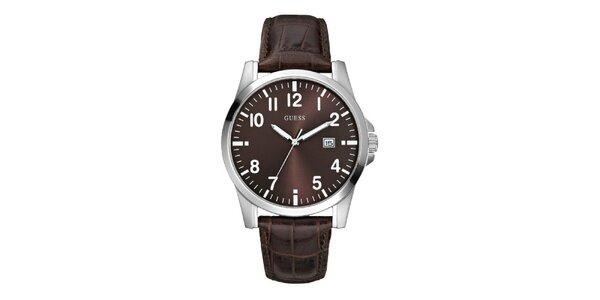 Pánske tmavo hnedé analogové hodinky Guess