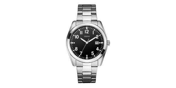 Pánske oceľové hodinky s černým ciferníkom Guess