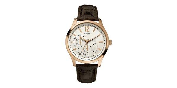 Pánske hnedé hodinky s pozlacenými detailami Guess