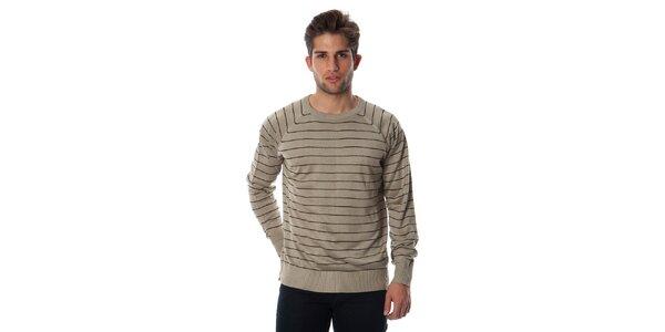 Pánsky béžový pruhovaný sveter Cristian Lay