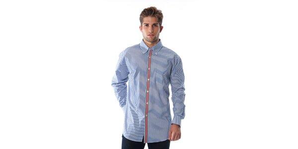 Pánska modro-biela prúžkovaná košeľa s červeným lemom Cristian Lay