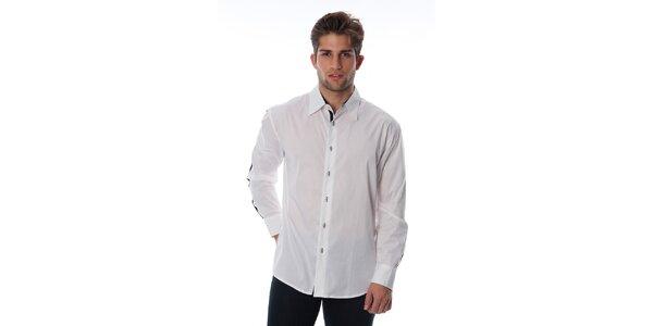 Pánska biela košeľa s černým lemom Cristian Lay