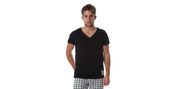 Pánske čierne tričko s bielym detailom Cristian Lay