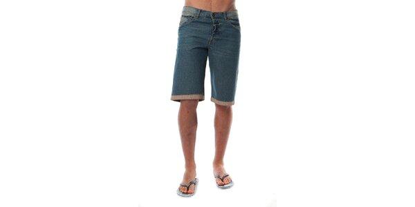 Pánske modré džínsové bermudy s lemom Cristian Lay