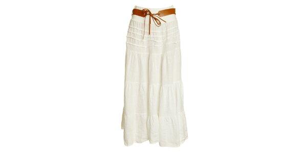 Dámska biela ľanová maxi sukňa s opaskom Puro Lino