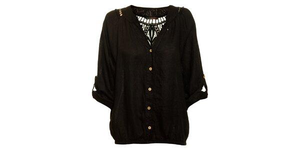 Dámska čierna ľanová košeľa Puro Lino