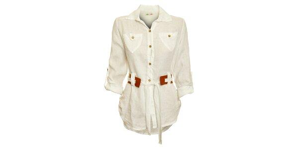 Dámska biela košeľa s karamelovým opaskom Puro Lino