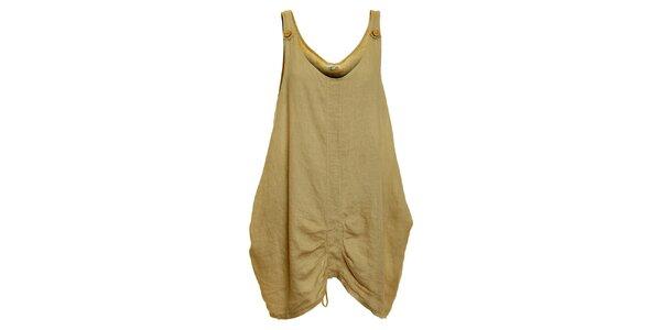 Dámske béžové ľanové šaty Puro Lino