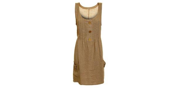 Dámske hnedo-béžové ľanové šaty s vreckami Puro Lino