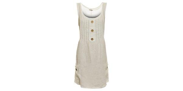 Dámske biele ľanové šaty s vreckami Puro Lino