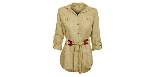 Dámska béžová košeľa s karamelovým opaskom Puro Lino