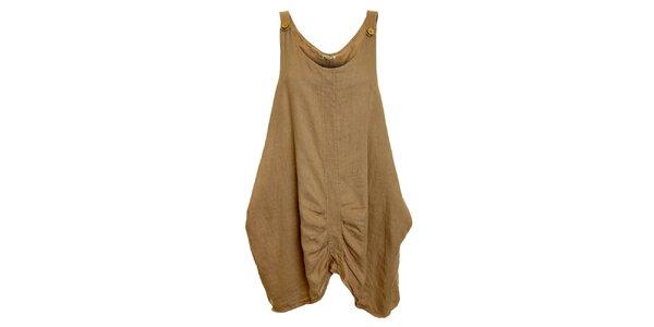 Dámske hnedo-béžové ľanové šaty Puro Lino