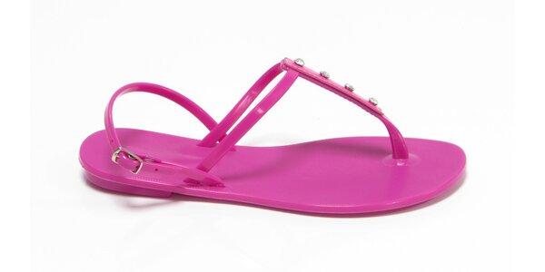 Dámske fuchsiové sandálky Favolla s kamienkami