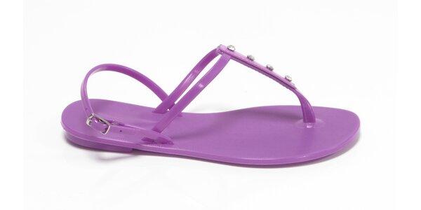 Dámske fialové sandálky Favolla s kamienkami