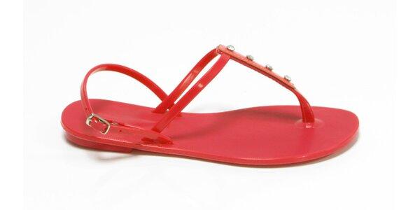 Dámske červené sandálky Favolla s kamienkami