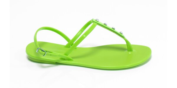 Dámske limetkové sandálky Favolla s kamienkami