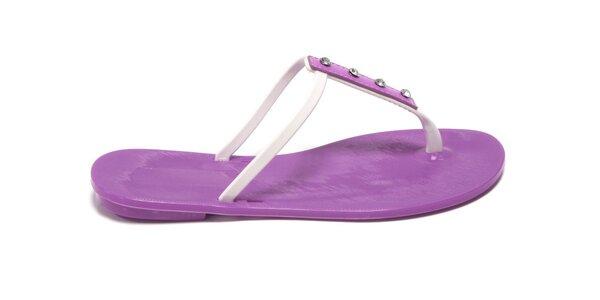 Dámske fialovo-biele žabky Favolla s kamienkami