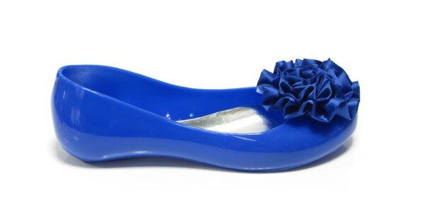 Dámske kobaltovo modré baleríny Favolla s kvetinkou