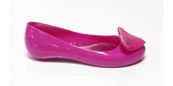 Dámske ružové baleríny Favolla so srdiečkom