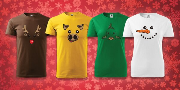Pánske alebo dámske vianočné tričká s nemou tvárou