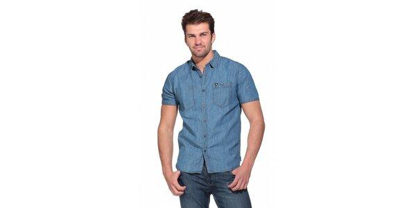 Pánska svetlo modrá džínsová košela Superdry s krátkym rukávom