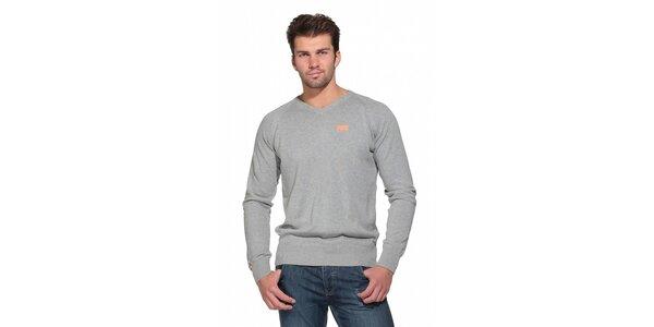 Pánsky svetlo šedý sveter Superdry