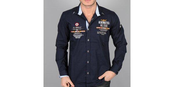 Pánska tmavo modrá košeľa s nášivkami Aeronautica Militare