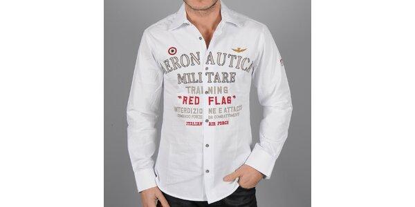 Pánska biela košeľa Auronautica Militare s potlačou