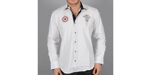 Pánska biela košeľa s červeným terčom Aeronautica Militare