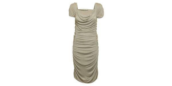 Dámske šedo-béžové nariasené šaty Pietro Filipi