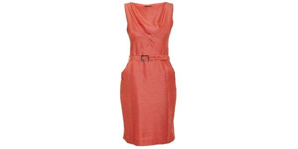 Dámske korálovo červené šaty s opaskom Pietro Filipi